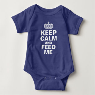 """Keep Calm and Feed Me"" personalized baby boy Baby Bodysuit"