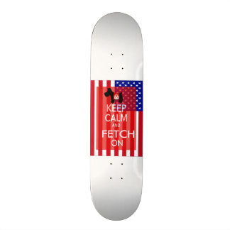 Keep Calm and Fetch On Scottie US Flag Skateboards