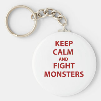 Keep Calm and Fight Monsters Basic Round Button Keychain