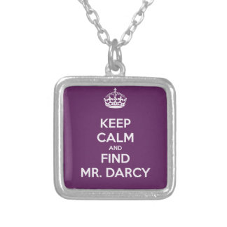 Keep Calm and Find Mr. Darcy Jane Austen Silver Plated Necklace
