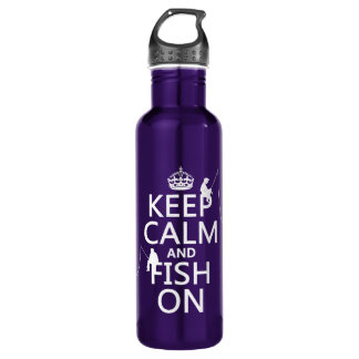 Keep Calm and Fish On - customizable colours 710 Ml Water Bottle