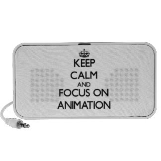 Keep Calm And Focus On Animation Laptop Speakers