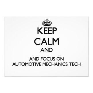 Keep calm and focus on Automotive Mechanics Tech Personalized Invitation