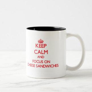 Keep Calm and focus on Cheese Sandwiches Two-Tone Coffee Mug