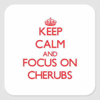 Keep Calm and focus on Cherubs Square Sticker
