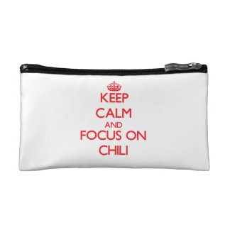 Keep Calm and focus on Chili Cosmetic Bags