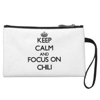 Keep Calm and focus on Chili Wristlet Purses
