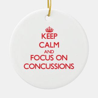 Keep Calm and focus on Concussions Ceramic Ornament