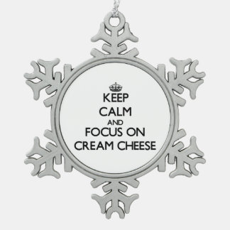 Keep Calm and focus on Cream Cheese Snowflake Pewter Christmas Ornament