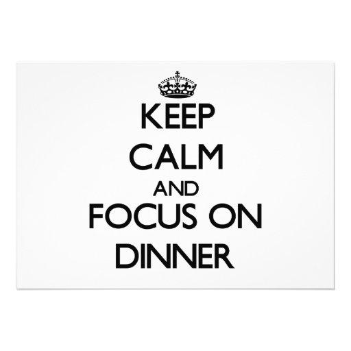Keep Calm and focus on Dinner Custom Invitations