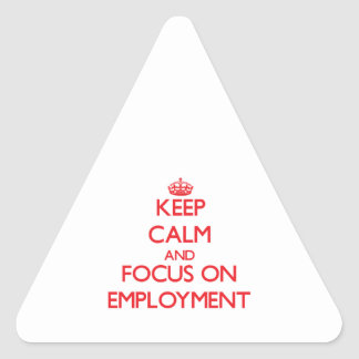 Keep Calm and focus on EMPLOYMENT Triangle Sticker