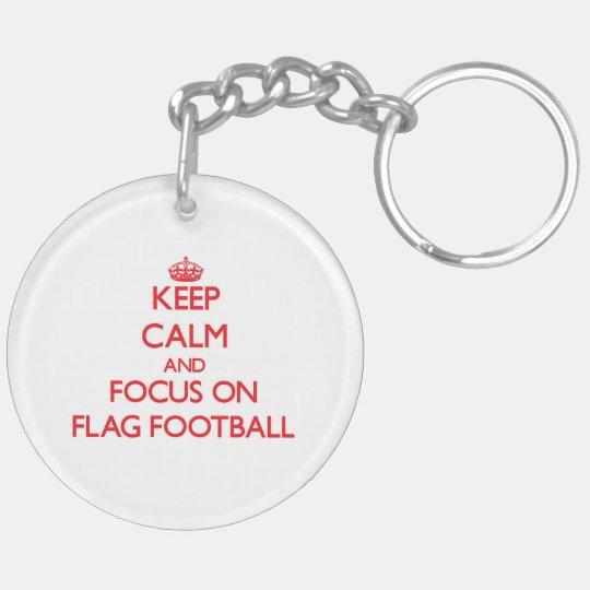 Keep Calm and focus on Flag Football Double-Sided Round Acrylic Keychain