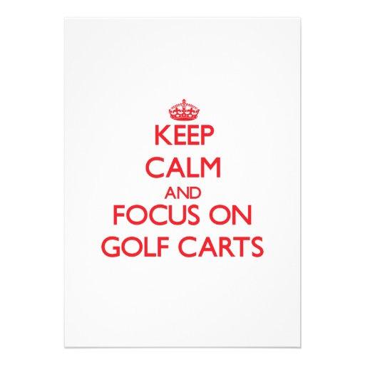 Keep Calm and focus on Golf Carts Custom Invitations