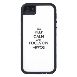 Keep Calm and focus on Hippos iPhone 5 Case
