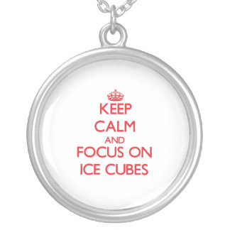 Keep Calm and focus on Ice Cubes Silver Plated Necklace