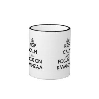 Keep Calm and focus on Kwanzaa Coffee Mugs