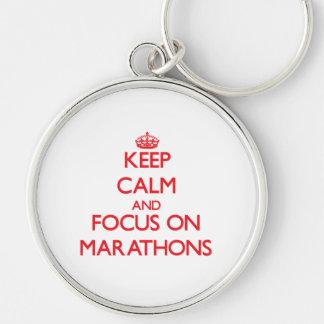 Keep Calm and focus on Marathons Keychain