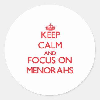 Keep Calm and focus on Menorahs Stickers