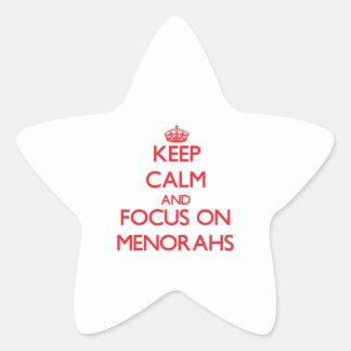 Keep Calm and focus on Menorahs Star Sticker