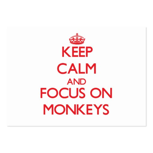 Keep Calm and focus on Monkeys Business Card Template