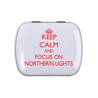 Keep Calm and focus on Northern Lights Jelly Belly Candy Tins