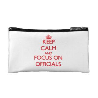 kEEP cALM AND FOCUS ON oFFICIALS Makeup Bag