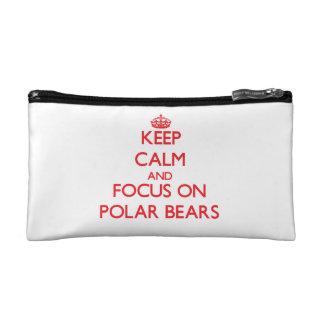 Keep Calm and focus on Polar Bears Makeup Bag