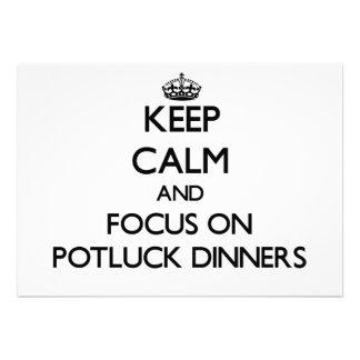 Keep Calm and focus on Potluck Dinners Custom Announcements