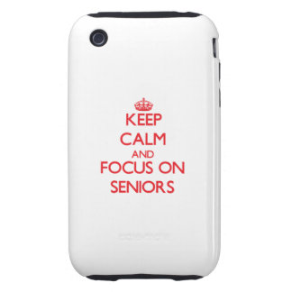 Keep Calm and focus on Seniors Tough iPhone 3 Cases