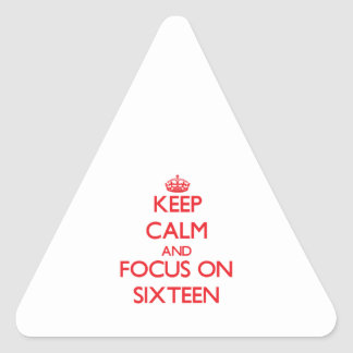 Keep Calm and focus on Sixteen Triangle Stickers
