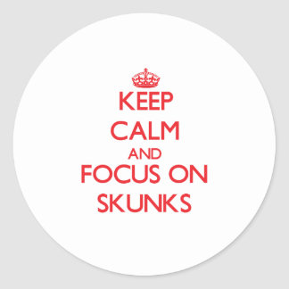 Keep Calm and focus on Skunks Round Sticker