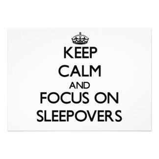 Keep Calm and focus on Sleepovers Custom Invite