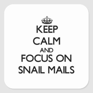 Keep Calm and focus on Snail Mails Square Sticker