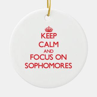 Keep Calm and focus on Sophomores Ceramic Ornament