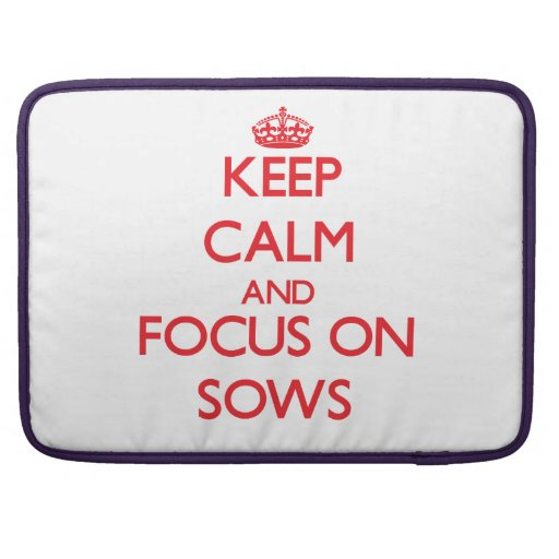 Keep Calm and focus on Sows MacBook Pro Sleeves
