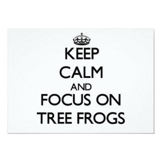 Keep Calm and focus on Tree Frogs Custom Invitations