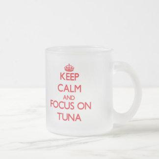 Keep Calm and focus on Tuna Frosted Glass Mug