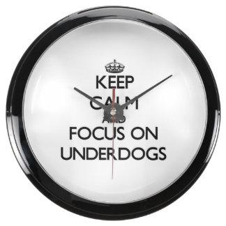 Keep Calm and focus on Underdogs Aquavista Clock