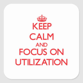 Keep Calm and focus on Utilization Square Stickers