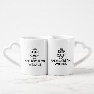 Keep calm and focus on Welding Couple Mugs