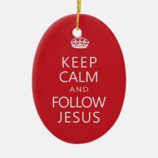 Keep Calm and Follow Jesus Christian Humor Ceramic Oval Ornament