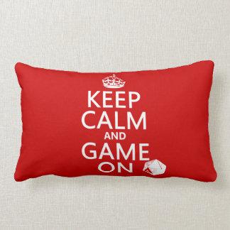 Keep Calm and Game On - dice - all colors Lumbar Pillow