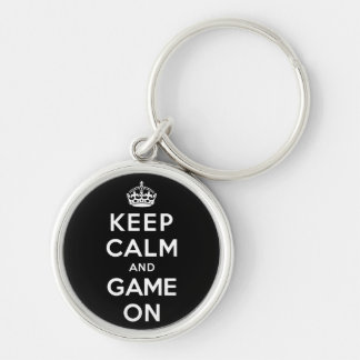 Keep Calm and Game On Silver-Colored Round Keychain