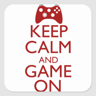 Keep Calm and Game On Square Sticker