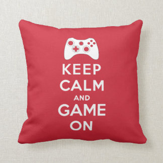 Keep calm and game on throw pillow