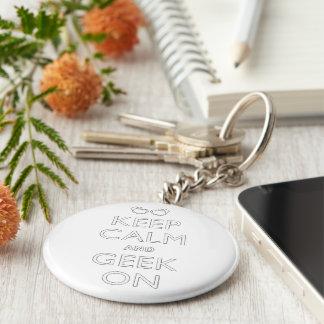 Keep calm and geek on keychain