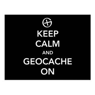 Keep Calm and Geocache On Postcard