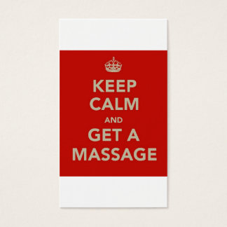 keep calm and get a massage business card