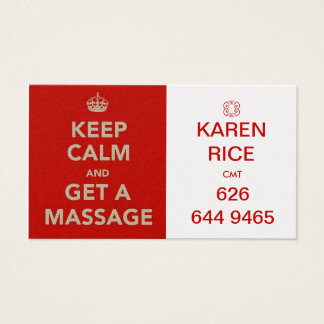 keep calm and get a massage II Business Card