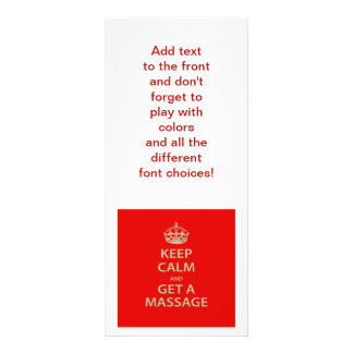 Keep Calm and Get a Massage Personalized Rack Card